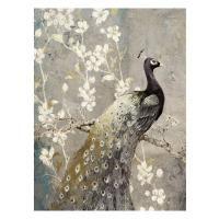 Vászon falikép, aranyozott páva, 60x80 cm, szürke - PAON